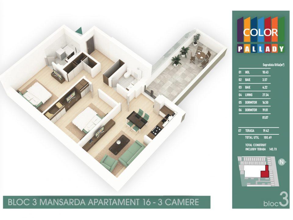 Bloc 3 – Mansarda – Apartament 16