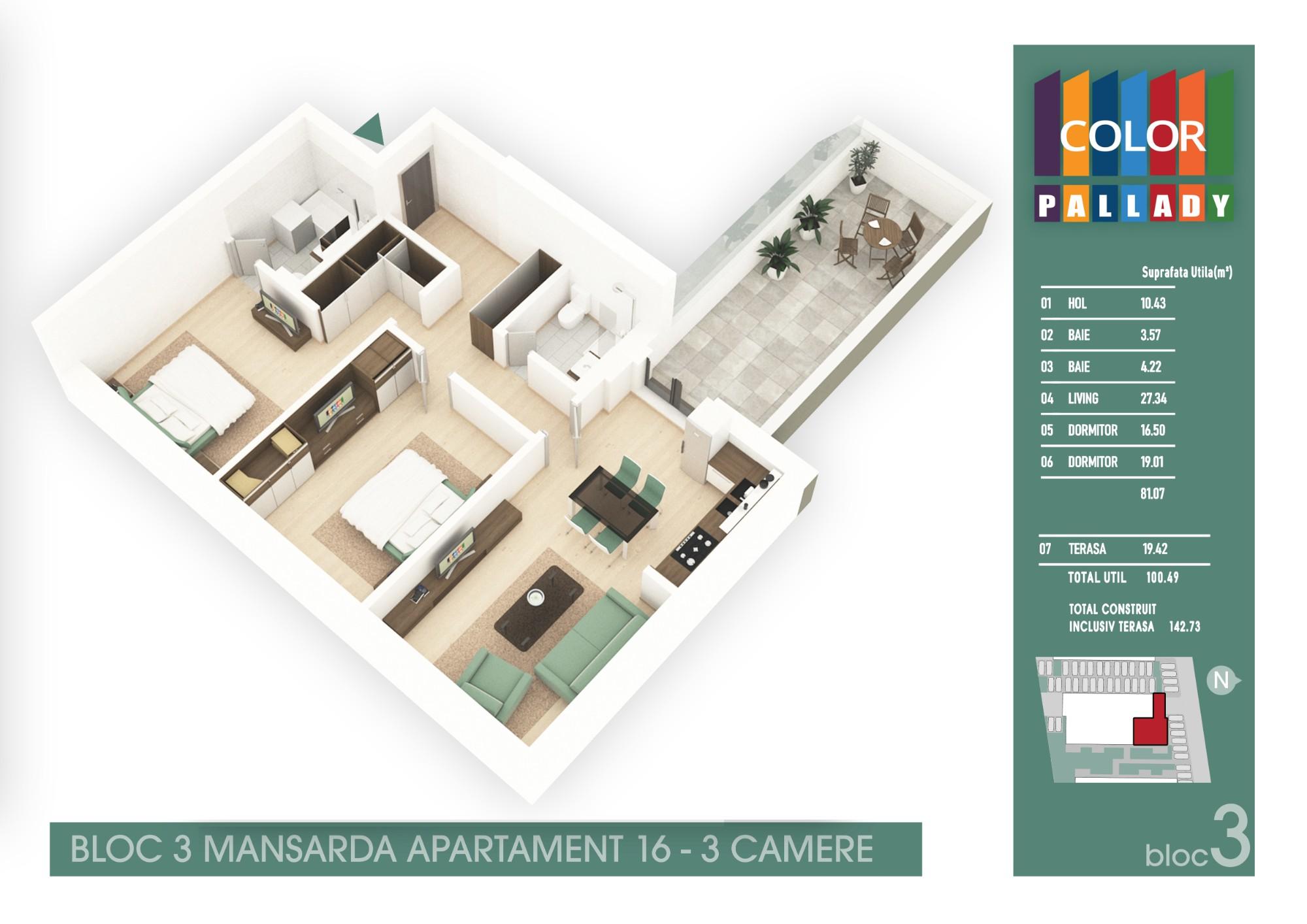 Bloc 3 - Mansarda - Apartament 16
