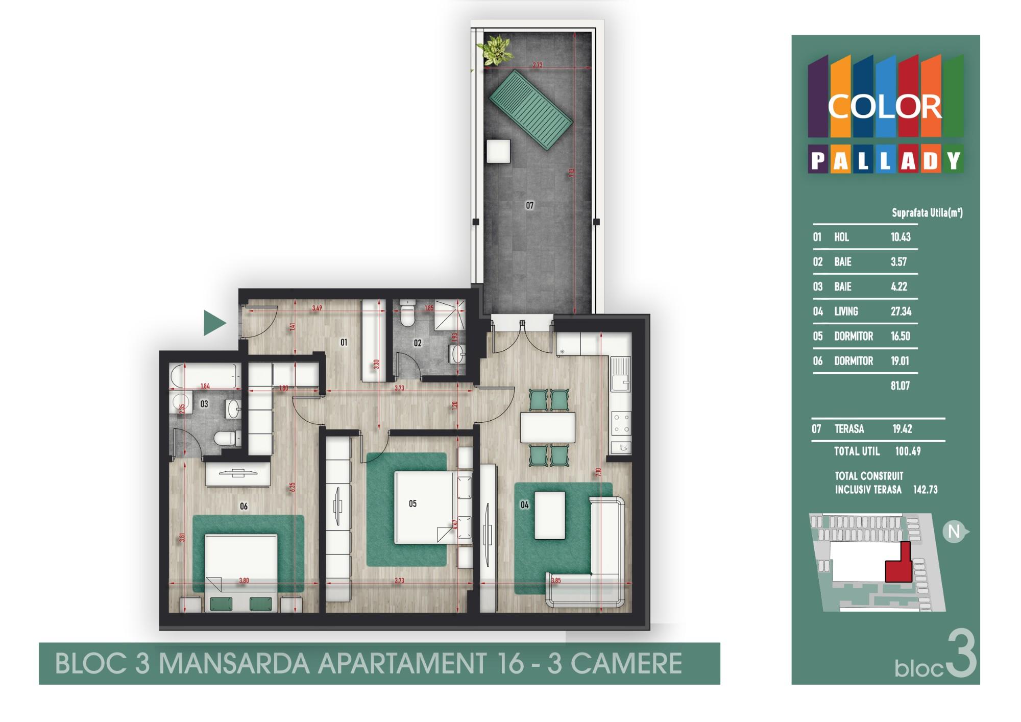 Bloc 3 - Mansarda- Apartament 16