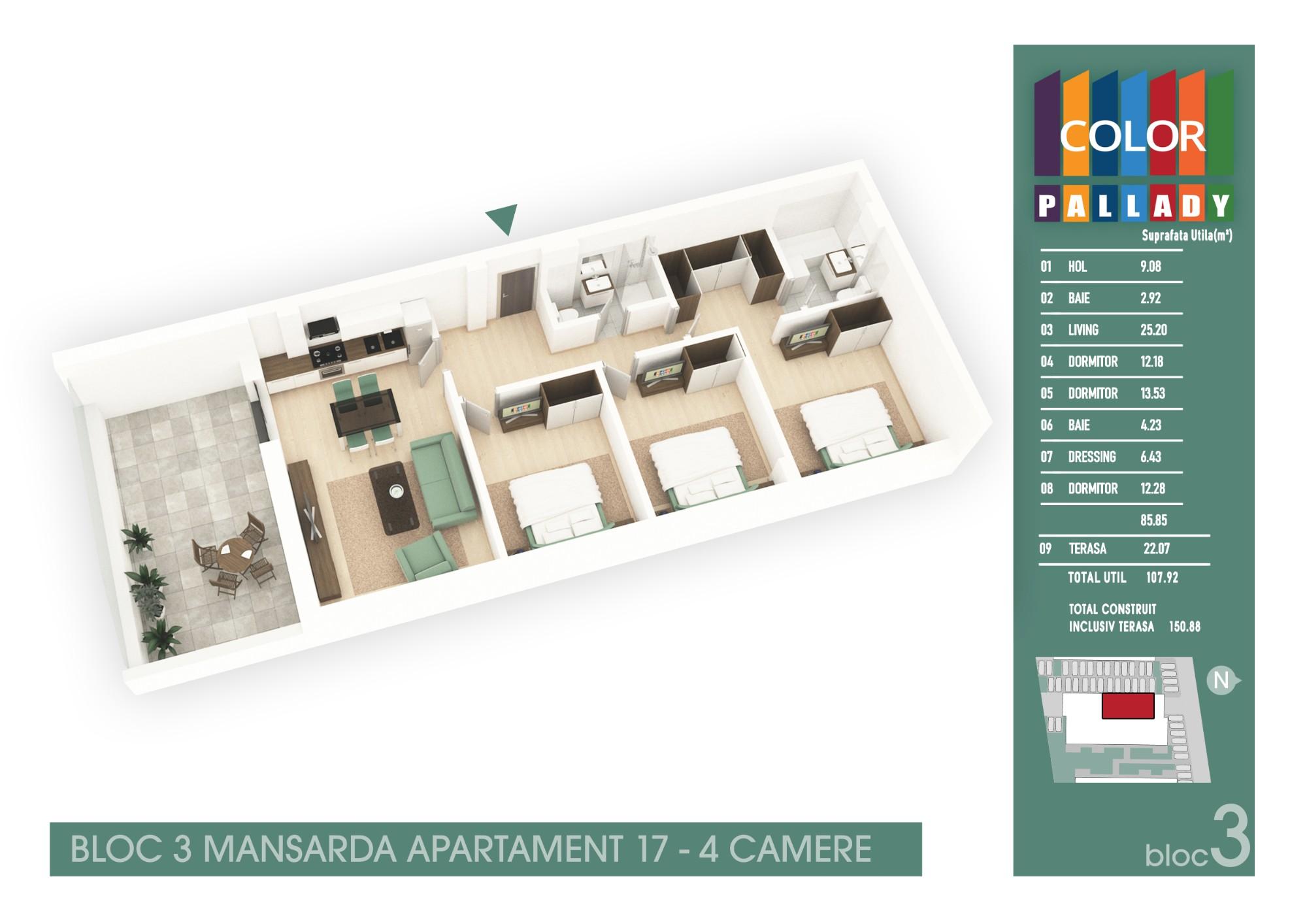 Bloc 3 - Mansarda - Apartament 17