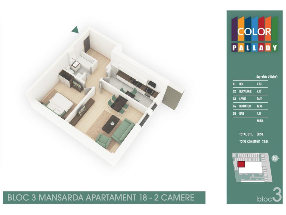 Bloc 3 – Mansarda – Apartament 18