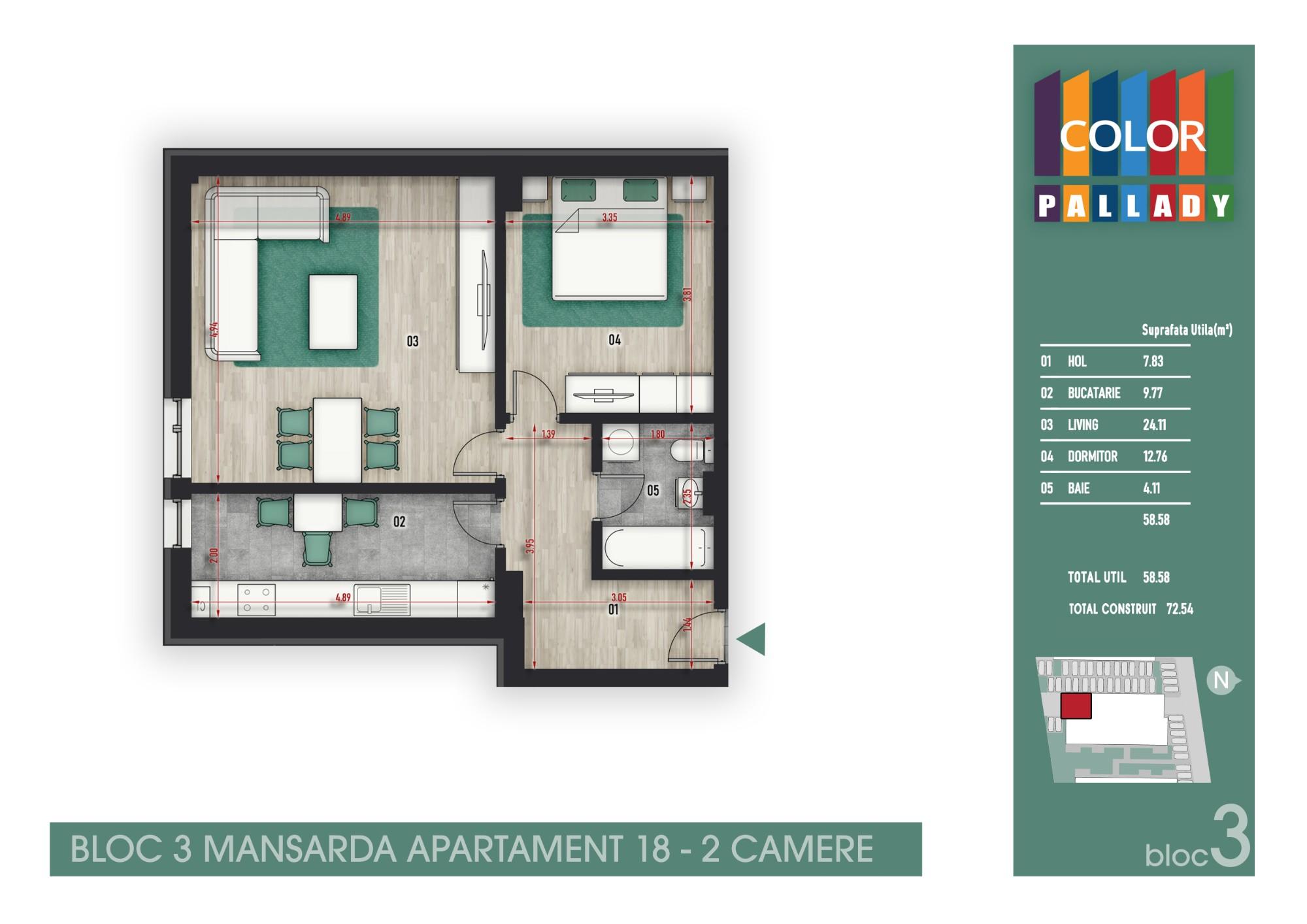 Bloc 3 - Mansarda - Apartament 18