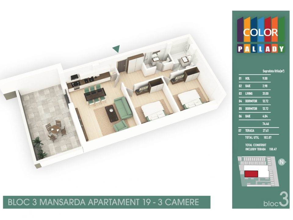 Bloc 3 – Mansarda – Apartament 19