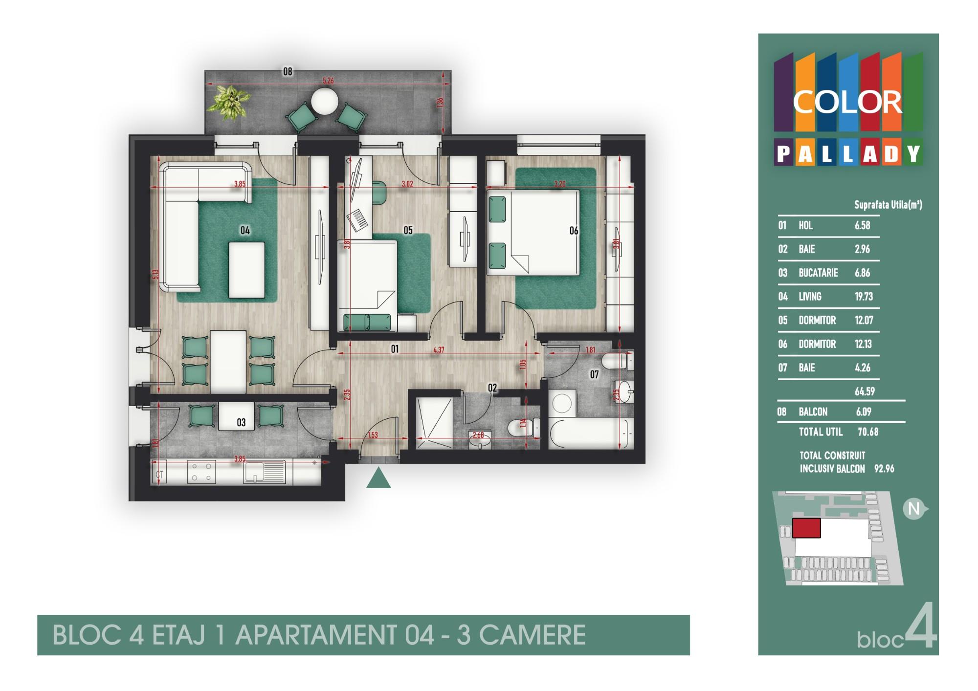 Bloc 4 - Etaj 1 - Apartament 04