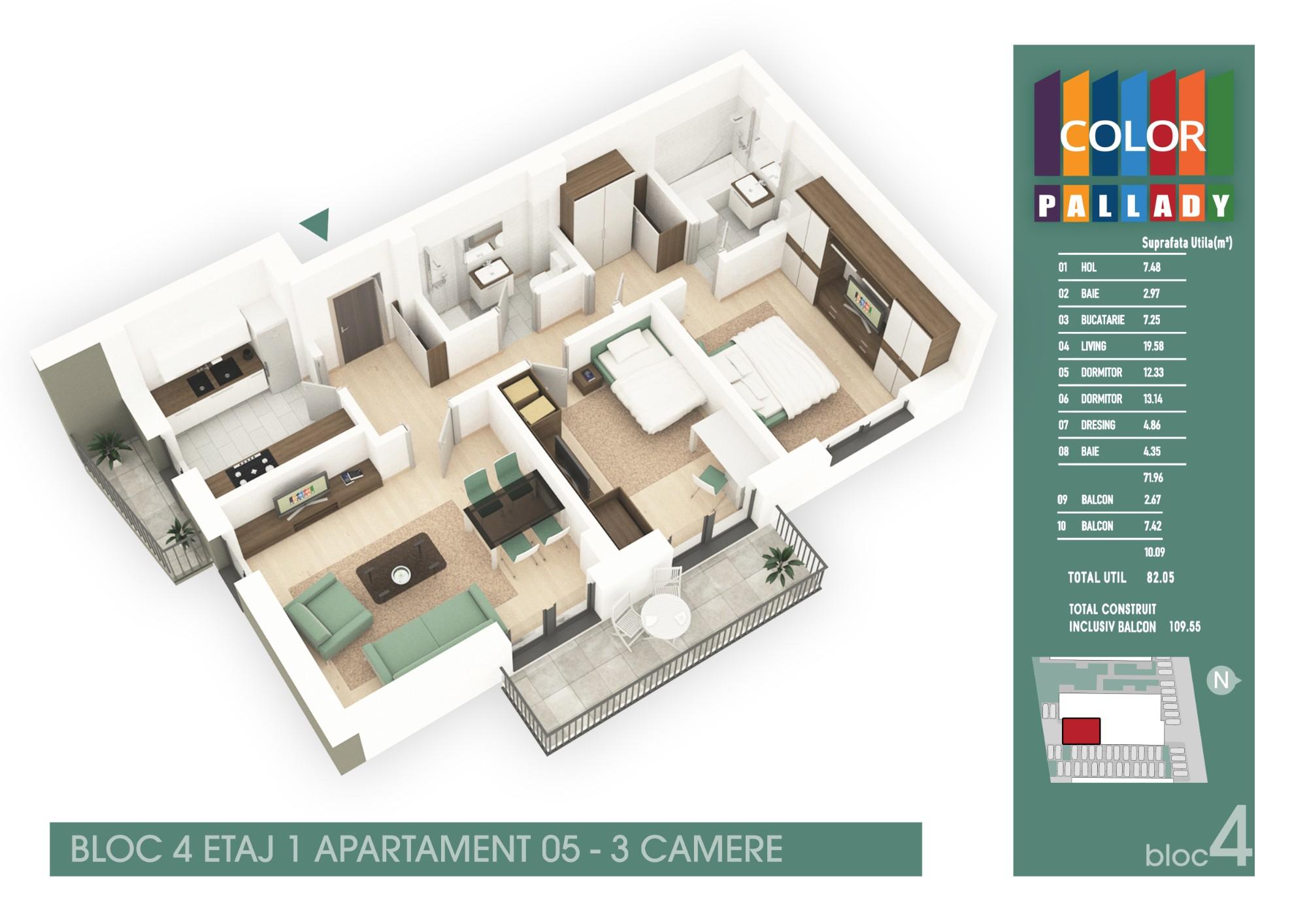 Bloc 4 - Etaj 1 - Apartament 05