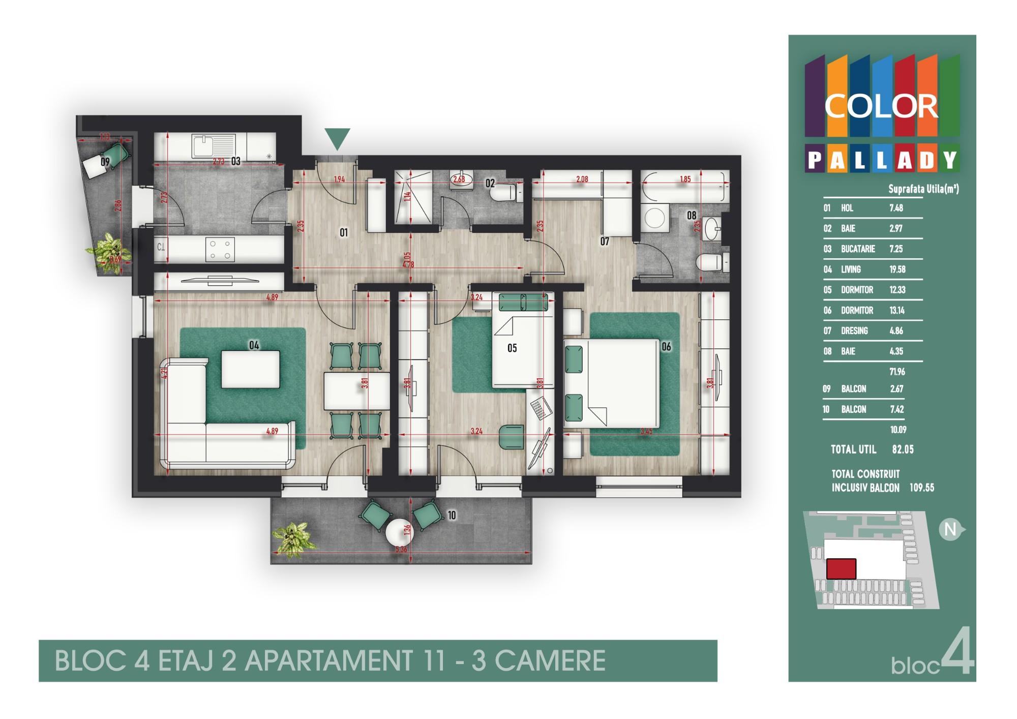 Bloc 4 - Etaj 2 - Apartament 11