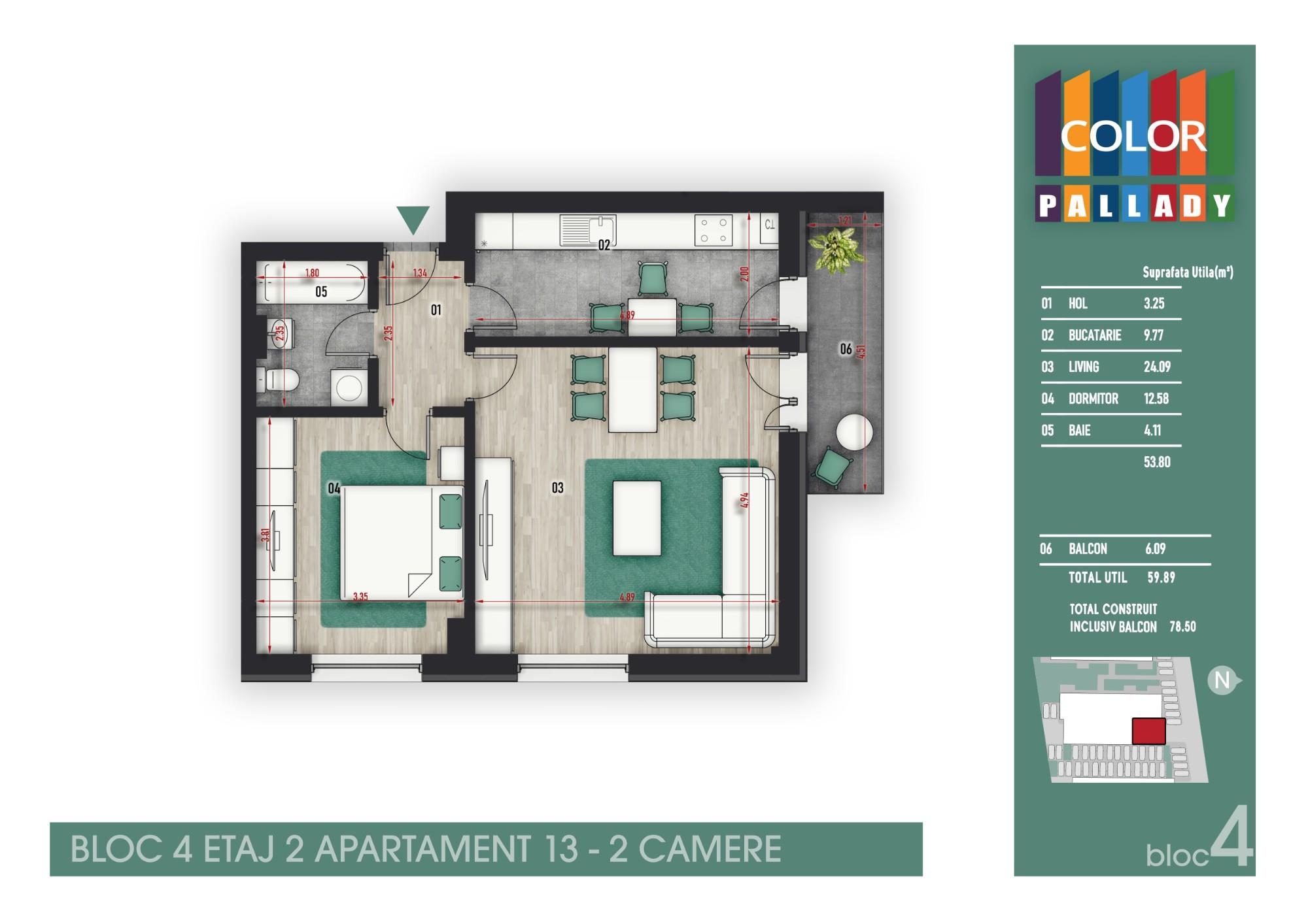 Bloc 4 - Etaj 2 - Apartament 13