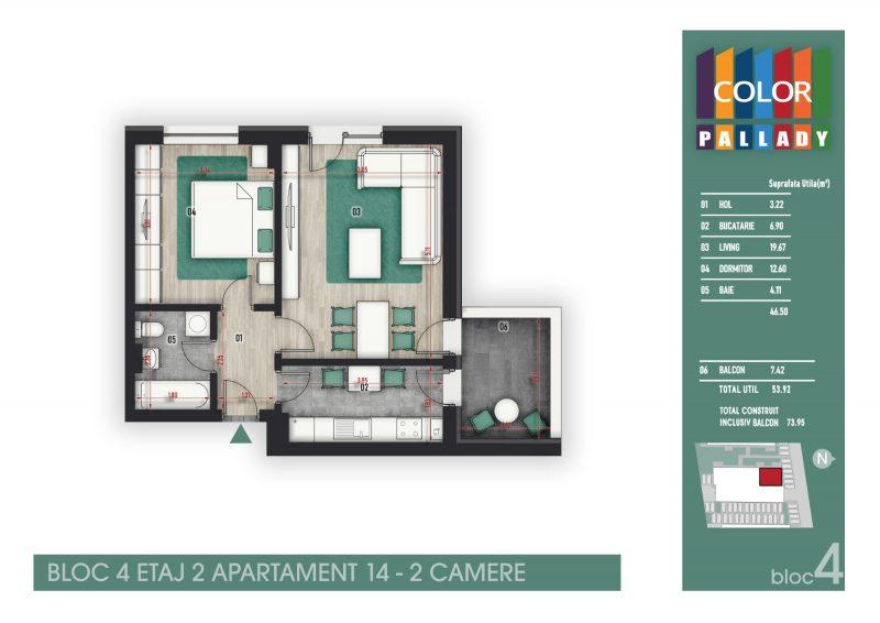 Bloc 4 - Etaj 2 - Apartament 14