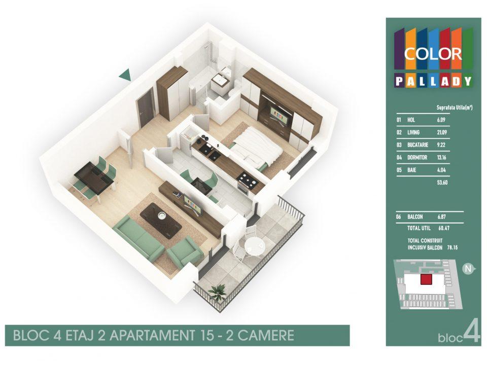 Bloc 4 – Etaj 2 – Apartament 15