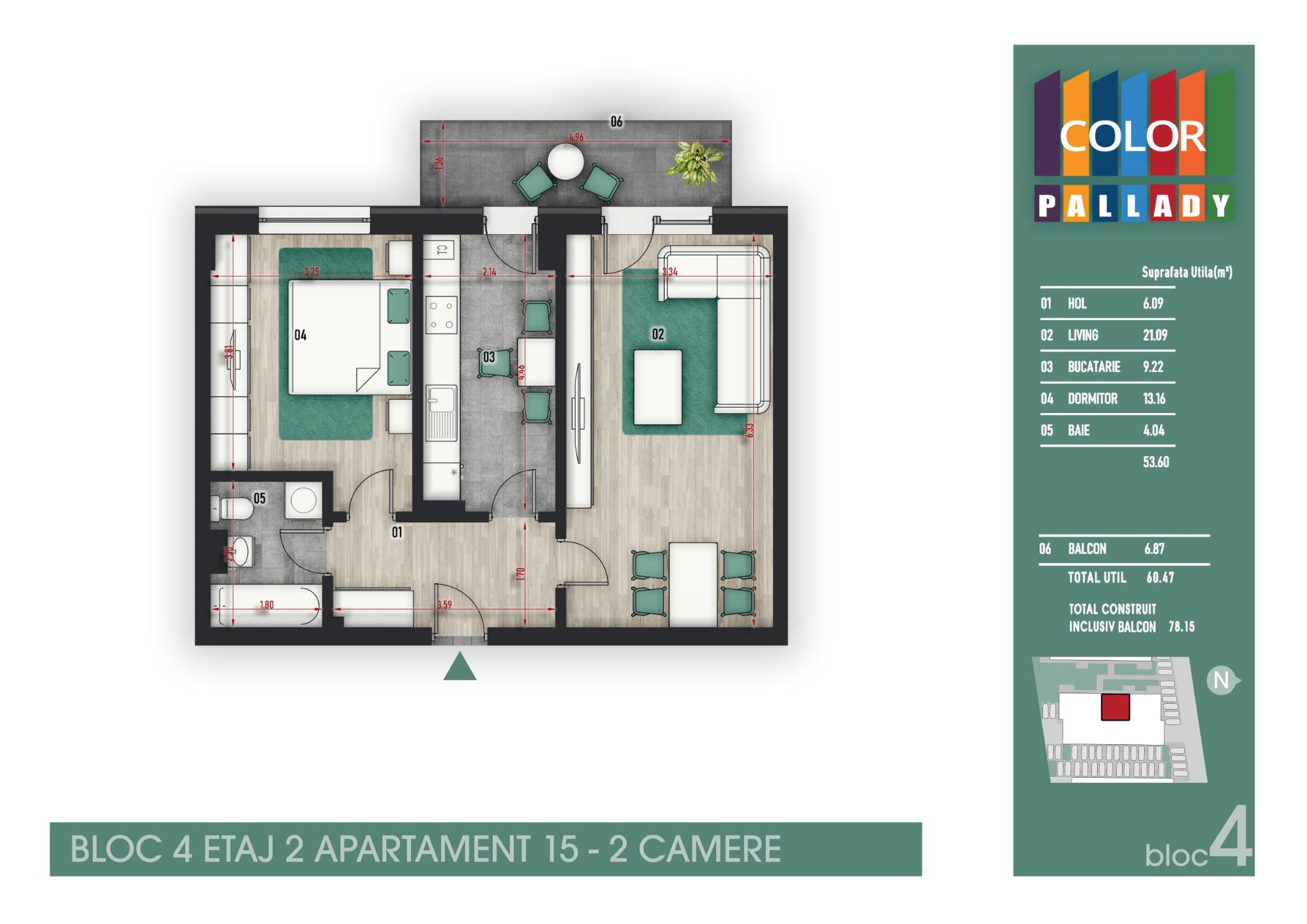Bloc 4 - Etaj 2 - Apartament 15