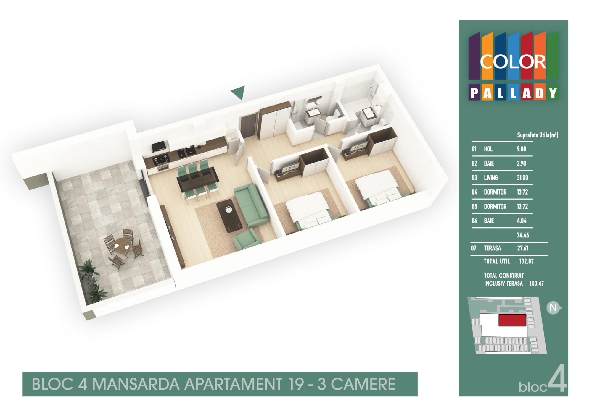 Bloc 4 - Mansarda - Apartament 19